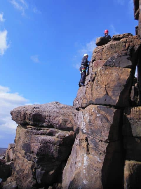 Woman-Lead-Climbing-Guide-Peak-District-Stanage
