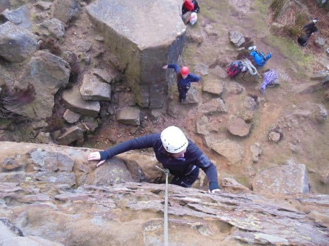 Woman-Top-Rope-Climbing-Course-Peak-District-Stanage