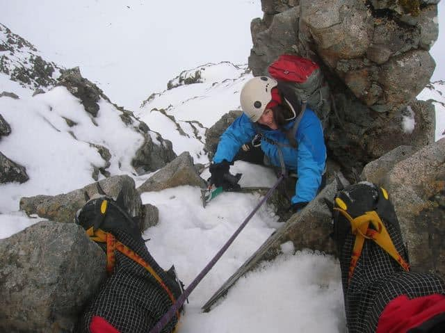 Woman-Winter-Climbing-Crampon-Boots-North-Wales