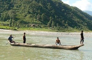 wooden fishing boat nepal