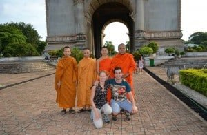 chatting with monks