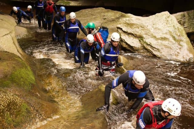 group-gorge-walking-yorkshire-dales