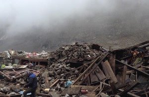 earthquake in Langtang Valley