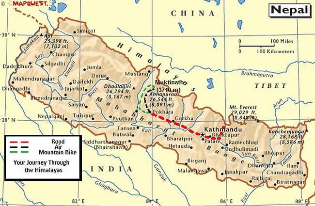 Nepal Extreme Tour Map