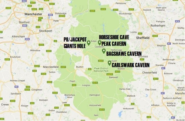Peak-District-Caving-Locations-Map