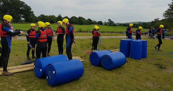 Raft building team building activity